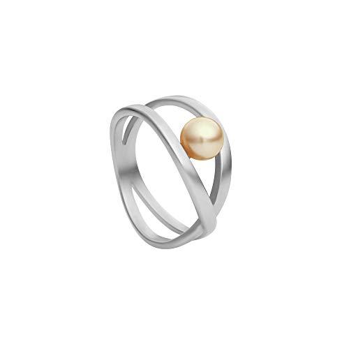 Heideman Ring Damen aus Edelstahl Silber farbend matt Damenring für Frauen mit Swarovski Perle Platin rund 6mm
