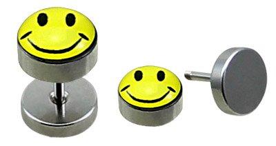 Custodia protettiva con brillantini ltext (2 pz) un paio di interventi acciaio finto Plugs con Smiley Design 8 mm