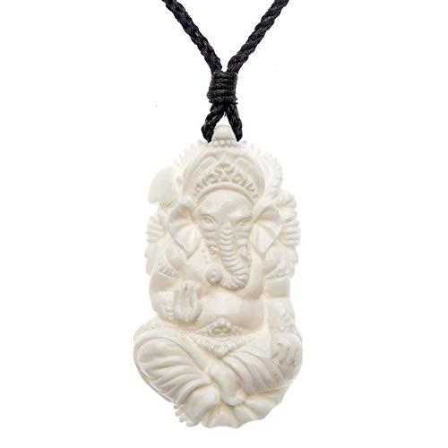 81stgeneration Collar Colgante de Hueso Elefante Indio Dios Ganesha Ganpati Ganesh Ganesha