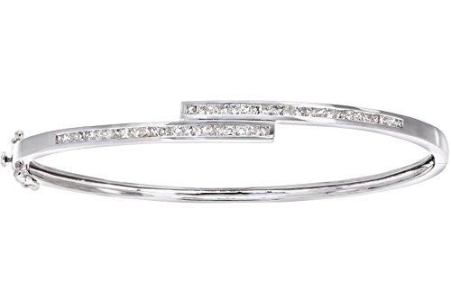 Naava Women's 9 ct White Gold 1ct Princess Cut Diamond Channel Set Bangle