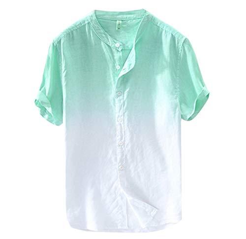 Shirt Herren,ESAILQ Sommer Herren cool und dünn atmungsaktiv Kragen hängen gefärbt Farbverlauf Baumwollhemd -