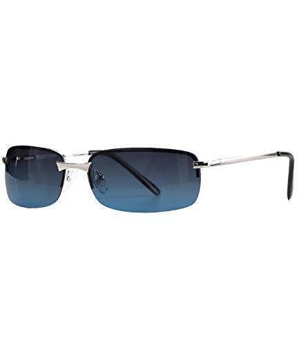 Caripe sportliche Sonnenbrille Herren rechteckig rahmenlos verspiegelt - herso (One Size, 016 - silber - blau polarisiert)