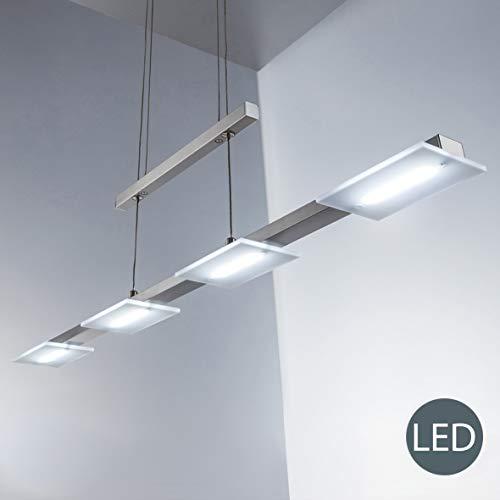 LED Pendelleuchte inkl. 4x 4W 330lm LED Platine, Höhenverstellbare Esstischleuchte, 3000K warmweiß, IP20 Echtglas