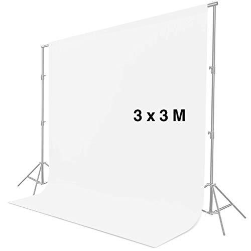 CRAPHY 3 m x 3 m Pantalla de Fondo Blanco, Croma Blanco, Telón de Fondo Blanco para Estudio Fotografía de Foto Video (Sin Soporte)