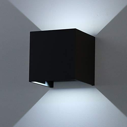 K-Bright 12W Moderne LED Schwarz Wandleuchte mit einstellbar Abstrahlwinkel Design IP 65 außen Wandaussenleuchte für Schlafzimmer, Wohnzimmer,Kalt weiß, Aluminium, 12 W, Black Case,Cold White