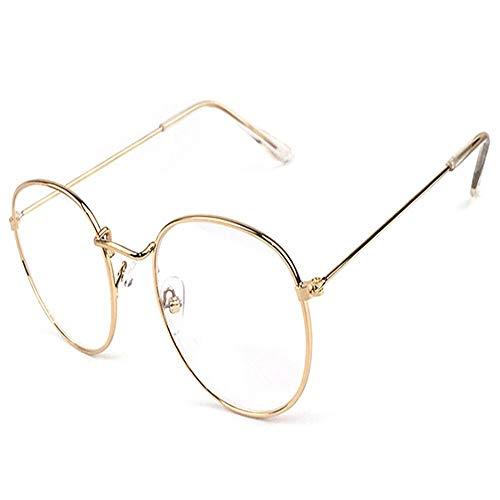 XCYQ Brillengestell Metalldruck Runde Große Brillengestell Unisex Dekorative Brille Leichte Klare...