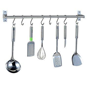 Alicemall Multipurpose Wall Mounted Pan Pot Rack Kitchen Utensils Hanger Organizer Lid Holder 31