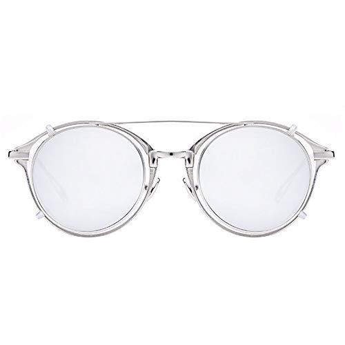 Männer UV400 Schutz Europa und die Vereinigten Staaten Runde Retro-Brille Weibliche Steampunk-Sonnenbrille Brille (Farbe : Silver)