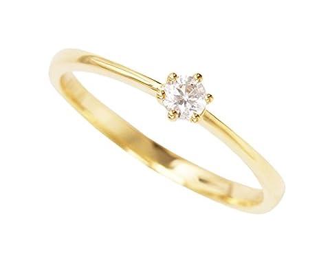 MyGold Damen-Verlobungsring Gelbgold 585 Gold (14 Karat) mit Stein 1 Zirkonia Brillant-Schliff Solitär Gr. 50 Heiratsantrag Hochzeitsantrag Antrag Verlobung Goldring Damenring Golden Love