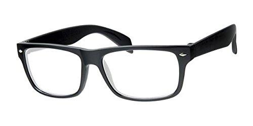 Unisex Retro-Geekbrille Gläser klar, frei gelb Hals Kordel, Vollem UV-Schutz, Rahmen Schwarz glänzend