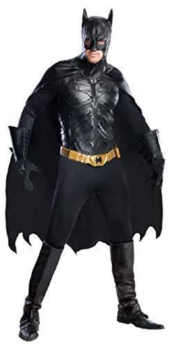 Herren offiziell DC Comics Profi-Qualität Batman Superheld Cosplay Halloween Kostüm Kleid Outfit - Schwarz, Large (Qualität Superhelden Kostüm)