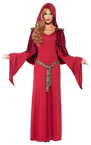 Smiffys Costume de Grande Prêtresse, Rouge, avec Robe, Ceinture et Cape à Capuche
