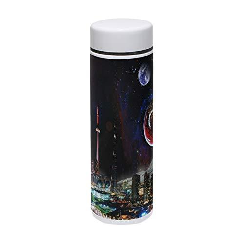 MUOOUM Fantasy City Buliding Planet Earth Vakuum-isolierte Edelstahl-Reise-Thermo-Tasse, 200 ml, heiß für 12 Stunden