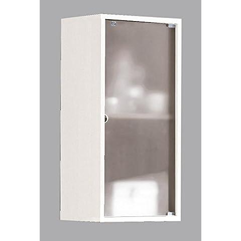 Armario aéreo para baño o aseo para colgar en pared con puerta de cristal y estante interior,