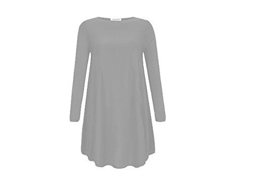 Damen Langarm rot kariert Übergröße Flared Schaukel Kleid, 8-22 Grau - Grau