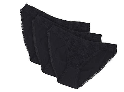 Clotho Bikini-Spitzen-Höschen, geruchshemmende Kupfer-Baumwolle, 3 Stück - schwarz - X-Groß -