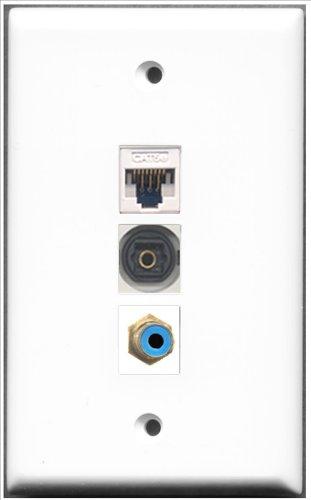 RiteAV-1Port RCA blau und 1Port Toslink und 1Port Cat5e Ethernet weiß Wall Plate -