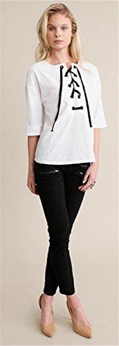 Bohemian Bohème Chic Peasant Style Lacé Lacets Laçage Sur Le Devant Encolure Demi manche Blouse Chemisier Shirt Chemise T-Shirt Haut Top Blanc Blanc