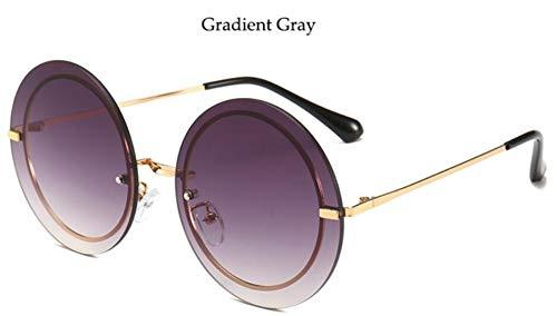 KONGYUER Sonnenbrillen, Brillen,Farbverlauf Grau Randlos Übergroße Runde Sonnenbrille Frauen Metall Tempel Sonnenbrille Männer Flache Linse Gradienten Sonnenbrille Hippie Kreis Brille Uv400 -