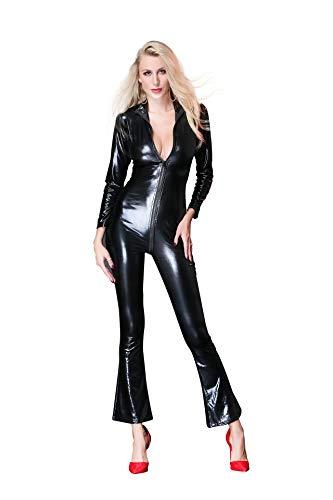 FUNFSEX Adult Halloween Cosplay Enge Bodysuit 2 Wege Zip Catsuit Overall Kostüm Kunstleder Reißverschluss Playsuit Sexy Party Clubwear Outfit, Schwarz