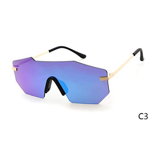 ZRTYJ Sonnenbrille Übergroße randlose Einteiler-Sonnenbrille fürHerren Superstar Polygon Frameless Shield Ray Sun Glasses Shades