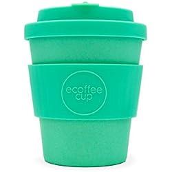 Ecoffee Cup Inca - Taza de café de bambú Reutilizable (250 ML), Color Turquesa