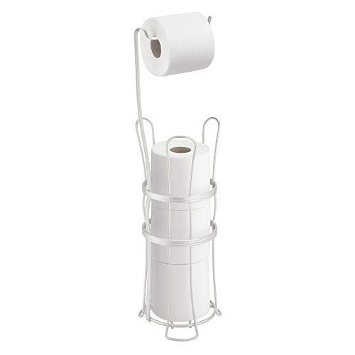 mDesign Support de Papier Toilette autoportant - Porte-Rouleaux pour Toilette sur Pied Chic avec Espace de réserve pour Papier - dérouleur de Papier WC idéal - Rangement Salle de Bain en Acier, Blanc