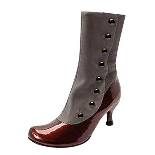 Supertong Damen Stiefeletten Cowboy Stiefel Schnalle Westernstiefel Halbhohe mit Blockabsatz Vintage Runden Bequeme Lederoptik Ankle Boots Farbblock Splice Bootsschuhe Stiefeletten -
