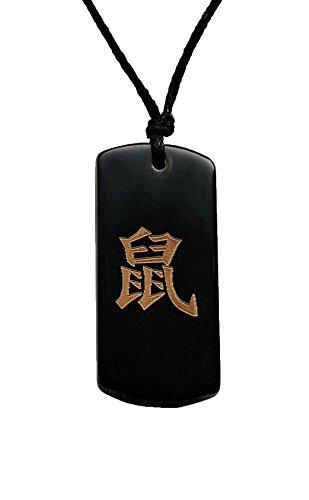 Chinesischer Glücksanhänger Glücksbringer Sternzeichen - Cowbone-Plättchen - Ratte
