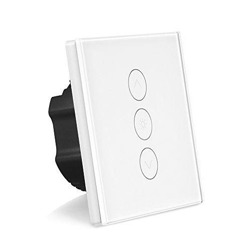 Smart Dimmer Schalter WLAN Berühren Stufenlos Mauer Lichtschalter Arbeit mit Alexa / Google Home / IFTTT 1 Gang APP Fernbedienung, Timing-Funktion, Überlastschutz AC 100-240V Maximum 400W für Android iOS (Neutralleitung Erforderlich) (1 Pack) (Ändern Sie Wand Licht Schalter)