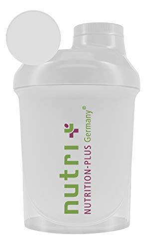 Nano-Shaker 300ml (transparent) - extra klein für unterwegs zum Mitnehmen - mit Schraubverschluss, Deckel und Siebeinsatz - BPA-frei - Nutri-Plus