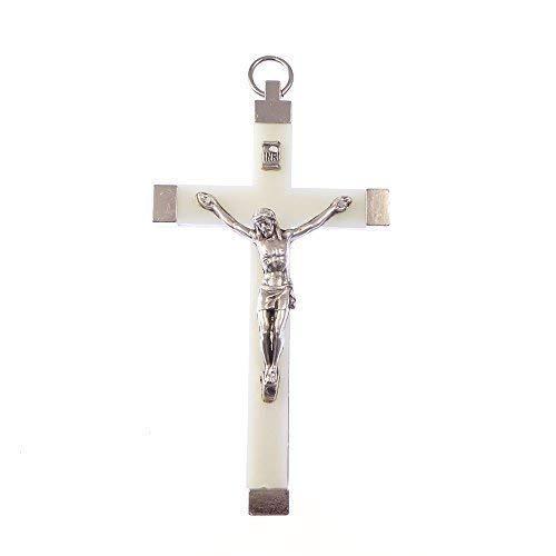 Catholic Luminous Silber Farbe Jesus Korpus Kruzifix Rosenkranz Kreuzanhänger 9.5cm