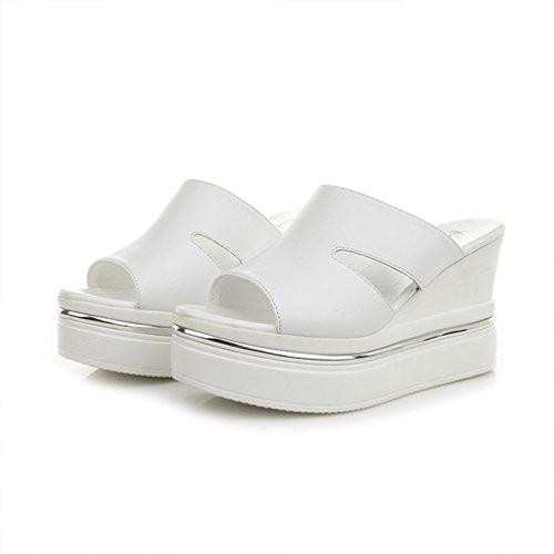 Damen Plateausandalen Leather Offene Sandalen mit Keilabsatz Weiß