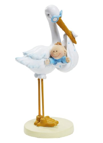 Decorative figure for cakes (11 cm), stork and baby design
