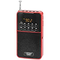 Trevi DR730M Rechargeable Portable FM Radio with In-Built Speaker and Headphone Socket - Red