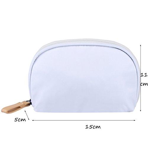 CLOTHES- Shell Cosmetic Bag viaggio semicircle lavare il pacchetto trasparente in PVC nichel borse donna sacchetto cosmetico ( Colore : Il blu scuro. ) Bianca