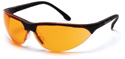 Pyramex Safety Rendezvous SB2840S bewährte Schutzbrille mit neigungsverstellbaren Bügeln für perfekte Passform/orange Gläser für bessere Konturensicht