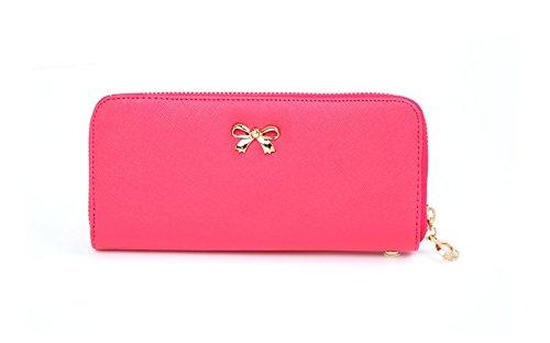 Prafa femme dchen geldb m? portefeuille rsen étui portefeuille portefeuille long avec motif chouette Rouge - Rouge