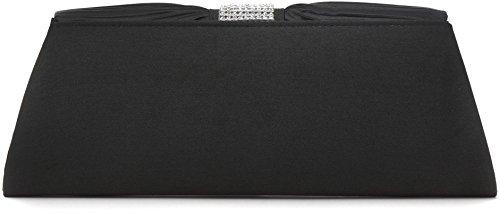 VINCENT PEREZ Borsetta, Borsa a tracolla, Pochette di raso increspato con strass e tracolla rimovibile (120cm) nero