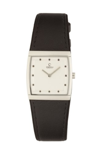 Obaku By Ingersoll Ladies Silver Dial Black Leather Strap Watch