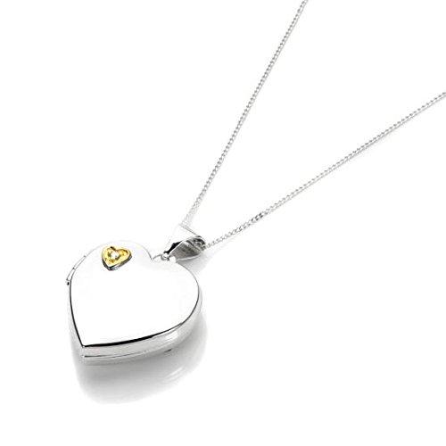 Collier et Pendentif Médaillon Cœur en Or Blanc 9 Carats et Diamant