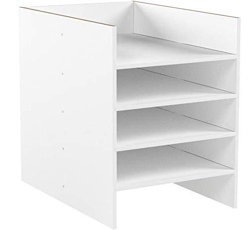 INWONA IKEA Kallax Expedit Regal DIN A4 Einsatz Ablage Papierfach Papierregal Postfach Sortierfach Papier Fach Aufbewahrung Dokumentenablage Fachteiler für 5 Einzelfächer 25 x 33,5 x 36 cm Weiß