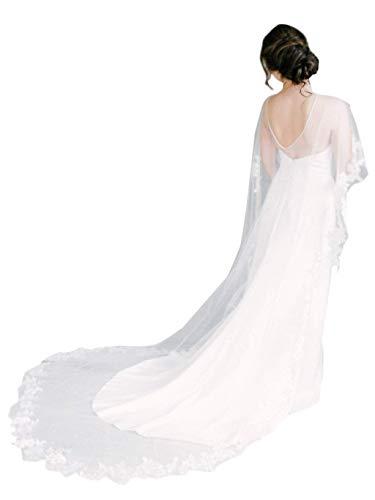 Damen Spitze Hochzeitsschleier Mantel Braut Umhang Lang Tüll Brautkleid Mantel (Elfenbein, One Size)