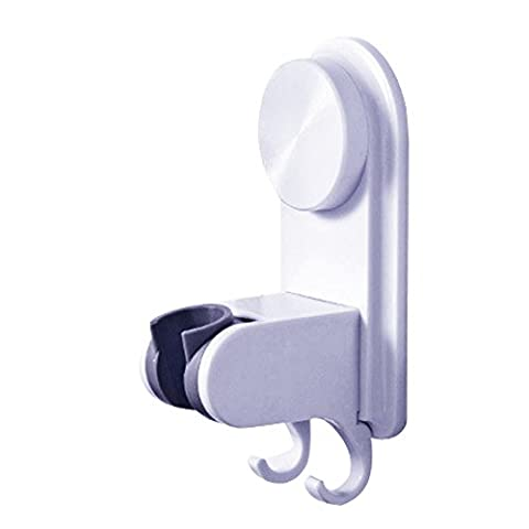 Shower Head Holder Rotatable Adjustable Wall Mount Strong Suction Cup Shower Head Bracket with Hook - Shower Arms Faucet Cradle Installation Kits Bathroom Accessories - No Drilling Required (White)