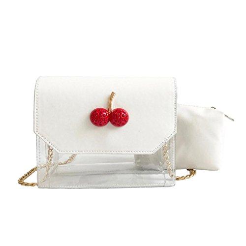 OYSOHE Damen Tasche,Frauen Kirsche Hit Farbe Transparent Crossbody Taschen Schultertasche + Clutch Wallet -