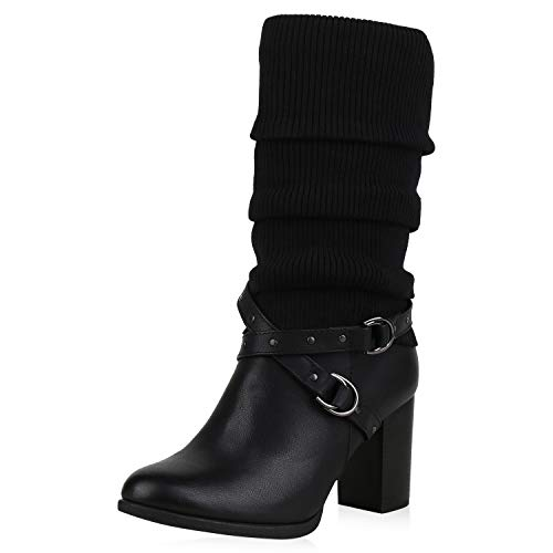 SCARPE VITA Klassische Damen Stiefel Leicht Gefütterte Boots Stulpen Schuhe 169908 Schwarz Stulpen Leicht Gefüttert 41