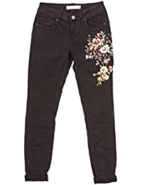 Main Company Jeans donna casual colorato con stampa e strass applicati su  gamba b2603b94e10