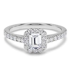 Color G Klarheit Damen-Ring Weißgold 14 Karat (750) 0,85 Karat Smaragdschliff Moissanit Größe O P M L K J H Q N