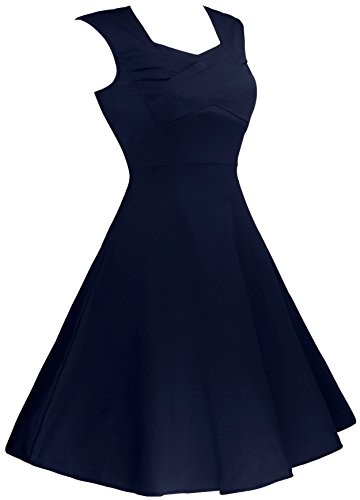 Angerella Femmes 1950 Retro Vintage Cap Sleeve Parti Robe Trapèze Navy
