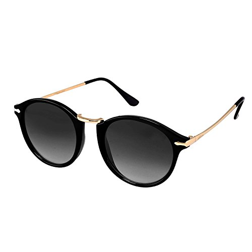 Younky Unisex UV Protected Round Stylish Mercury Sunglasses For Men Women Boys & Girls ( RDWAY-BB|55|Black ) - 1 Sunglass Case